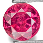 0.73-Carat 5mm Round Bright Pinkish Red Ruby from Tanzania