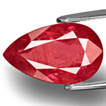 5.73-Carat Unheated Pinkish Orangish Red Pear-Shaped Ruby