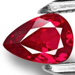 0.97-Carat Unheated Pear-Shaped Vivid Red Ruby from Mozambique