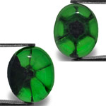 9.07-Carat Pair of Royal Green Colombian Trapiche Emeralds