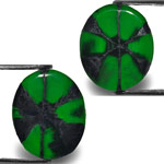 8.47-Carat Pair of Intense Royal Green Muzo Trapiche Emeralds