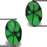 2.26-Carat Matched Pair of Deep Green Oval-Cut Trapiche Emeralds