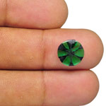 1.61-Carat Round 10mm Lively Intense Green Trapiche Emerald