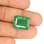 21.55-Carat Large Octagon-Cut Leaf Green Emerald from Zambia