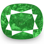 4.05-Carat Cushion-Cut Lively Intense Green Colombian Emerald