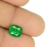 2.38-Carat Cushion-Cut Lively Neon Green Emerald from Colombia