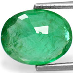 2.42-Carat Splendid Leaf Green Oval-Cut Zambian Emerald