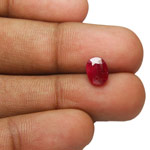 1.60-Carat Deep Red Unheated Oval-Cut Mozambique Ruby