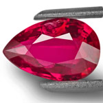 2.01-Carat Elegant Intense Red Unheated Pear-Shaped Ruby