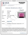 20.36-Carat Large Cushion-Cut Unheated Ruby from Liberia (AIGS)