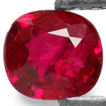 0.31-Carat Unheated Pinkish Red Cushion-Cut Burmese Ruby