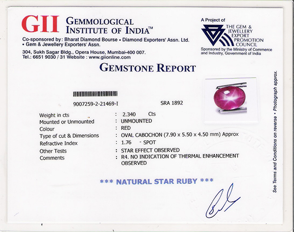 Certification starruby exotic gemstones pure natural gii sample certificate yadclub Choice Image