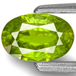 0.55-Carat Oval-Cut Intense Green Titanite Sphene from India