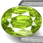 0.42-Carat Oval-Cut Bright Neon Green Sphene from India