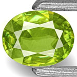 0.36-Carat Eye-Clean Intense Green Oval-Cut Sphene from India