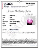 5.36-Carat Attractive Pinkish Red Vietnamese Star Ruby (AIGS)