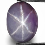 6.51-Carat Purplish Grey Star Sapphire with Razor-Sharp Star