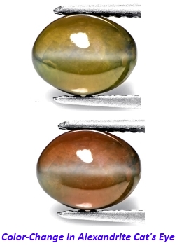 Color Change of Alexandrite Cat's Eye