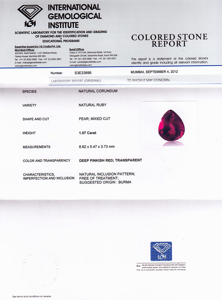 2.08-Carat Matched Pair of Pear-Shaped Unheated Burma Rubies - Click Image to Close