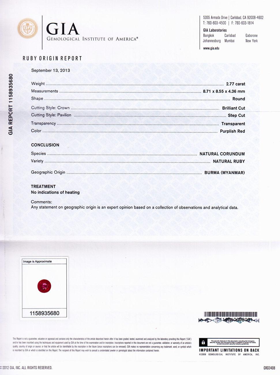277 Carat Gia Certified 850mm Round Unheated Burmese Ruby 0