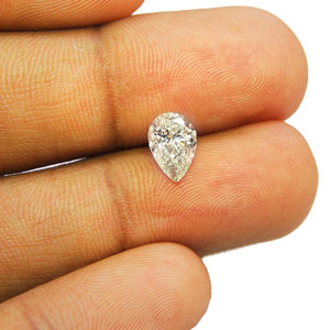 1.11-Carat Lustrous Pear-Shaped I2-Clarity J-Color Diamond ...
