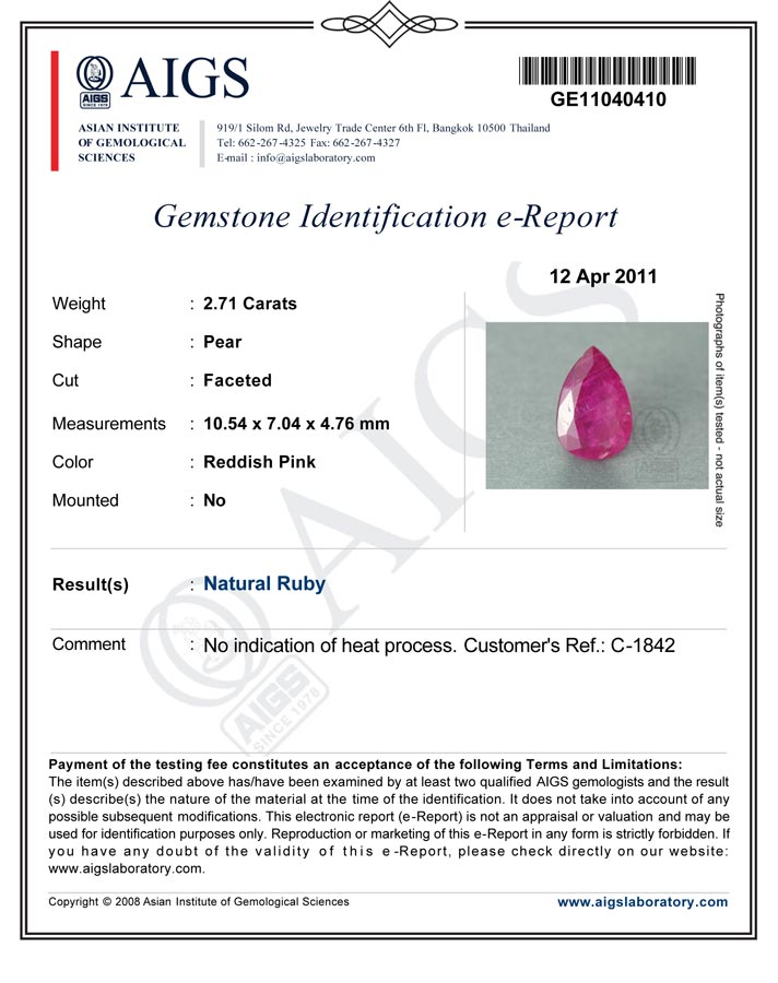 2.71-Carat Unheated Intense Pinkish Red Burmese Ruby - Click Image to Close