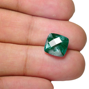 6.88-Carat Checkered-Cut Deep Bluish Green Unheated Sapphire - Click Image to Close