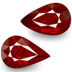 4.11-Carat Pair of Pear-Shaped VVS Pigeon Blood Red Rubies (GRS)