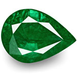 9.69-Carat GRS-Certified Pear-Shaped Deep Green Zambian Emerald