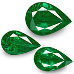 19.67-Carat 3-Pc Set of Deep Green Pear-Shaped Emeralds (GRS)