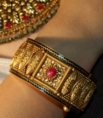 Ruby in Gold Kada Bracelet