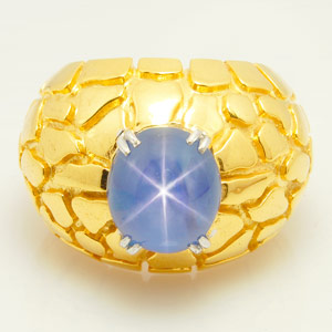 11.06-Carat Star Sapphire - Gold Nugget Ring