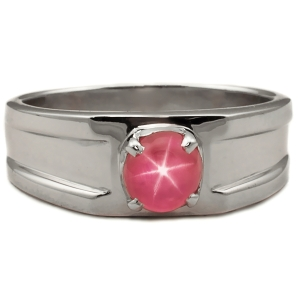 Ring containing a 2.20-ct Burmese Star Ruby Set in Silver