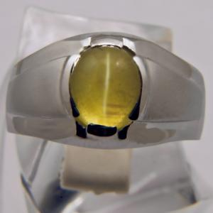 Transparent Chrysoberyl Cat's Eye mounted in a gold ring