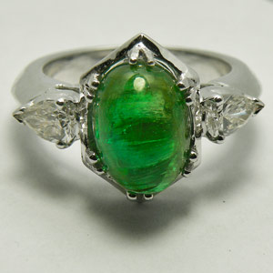 3.49-Carat Emerald Cabochon and Pear-Diamonds Ring