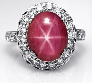 18K White Gold Ring containing a Kenyan Star Ruby & Diamonds