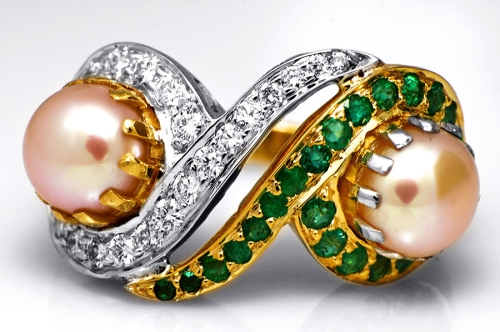 Pear, Diamond & Emerald Ring