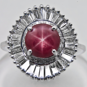 Star Ruby & Tapers Baguettes Diamond Ring