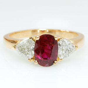1.42-Carat Ruby & Trilliant Ring