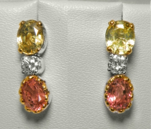 Sapphire, Diamond & Padparadscha Earrings