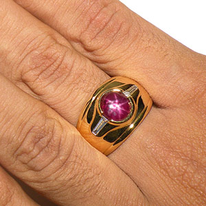 5.18-Carat Star Ruby & Baguette Ring