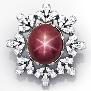Star Ruby & Diamond Pendant