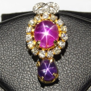 Star Ruby & Star Sapphire Pendant & Earrings Set